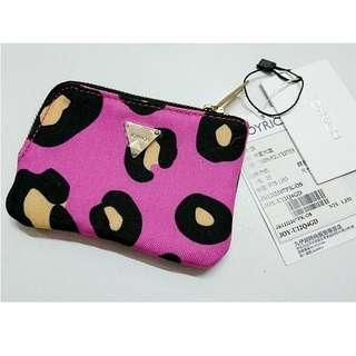 (全新)潮牌Joyrich粉紅色Wildlife Leopard Coin Case帆布豹紋半L型零錢包皮夾小物收納包