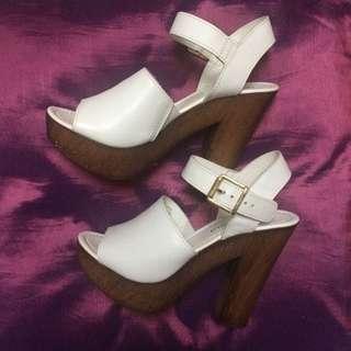 Urban Sole White Block Heels