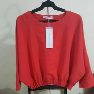 Cropped Red Blouse