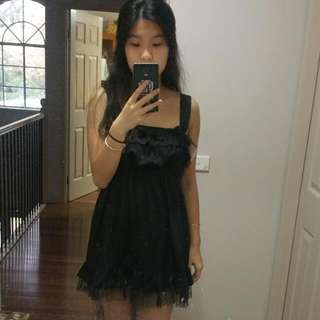 Black Frilly With Bows Lolita Style Dress