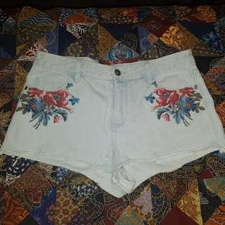 ELEMENT - Pale Denim High Waisted Shorts With Floral Embroidery