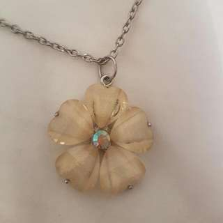 Glass Flower Pendant Necklace