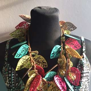 Multicolor Leather Statement Necklace