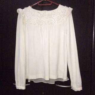 White Blouse with Sheer Back Panel and Embroidery Design