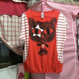 二手/YBS貓貓條紋短袖上衣