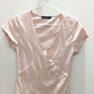 Beige Shirt Low V Cut