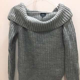 Grey Knitted Sweater Top