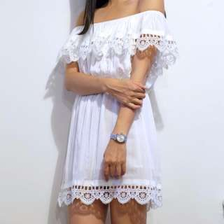 Hello Parry Ria Off Shoulder Ruffle White Dress size Small
