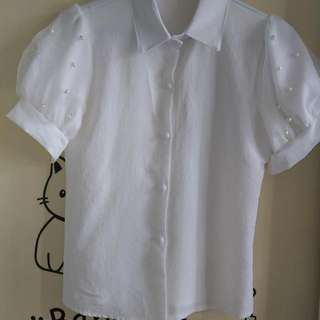 白色釘珠裇衫,雪紡料