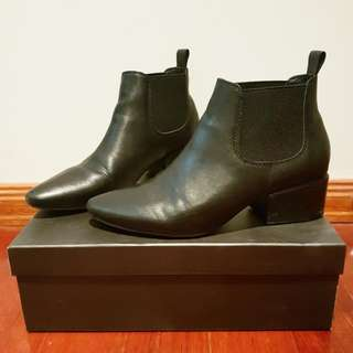 Silent D Leather Black Ankle Boots