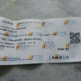 Bus Ticket To Singapure (SVIP)