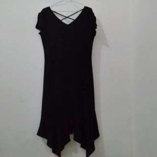 Dress Hitam 3/4 - Simple Black Cocktail Dress - S fit to M