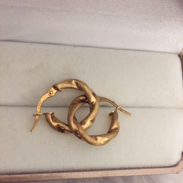 9ct Gold 375 Real Gold Hoop Twist Earring