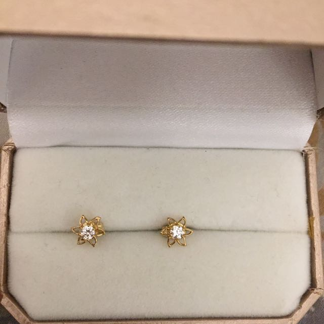 9ct Real Gold 375 Flower Earrings