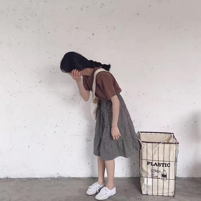 /現貨/韓國自製復古百搭鬆緊腰大擺裙棉百褶格子半裙中長款半身裙