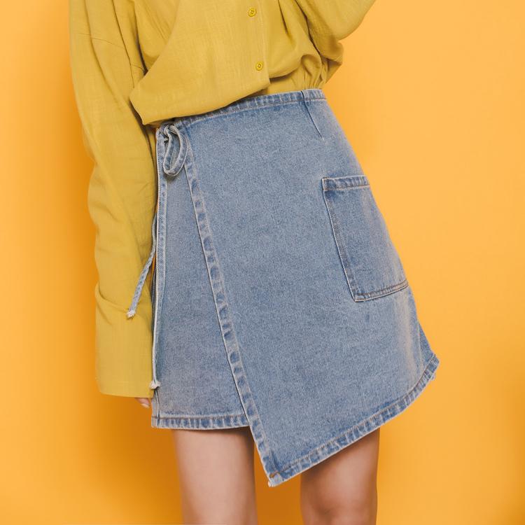 /現貨/不規則綁帶高腰寬鬆顯瘦牛仔褲夏季新款百搭短褲子學生褲裙