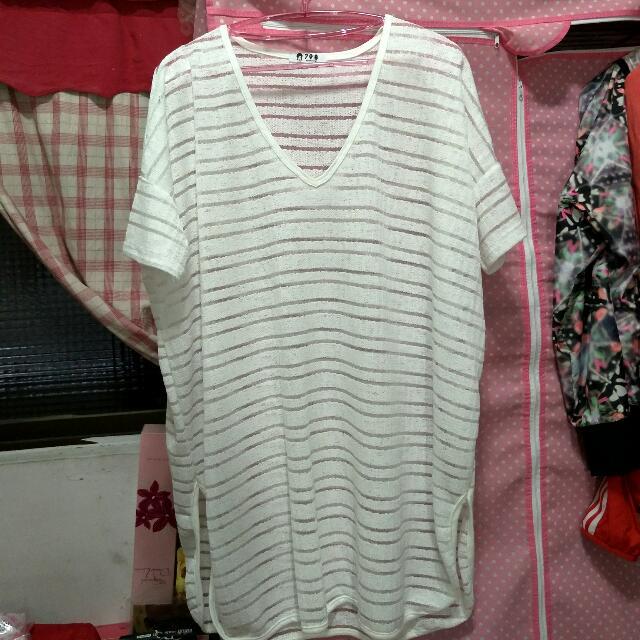 白色寬鬆長版罩衫上衣