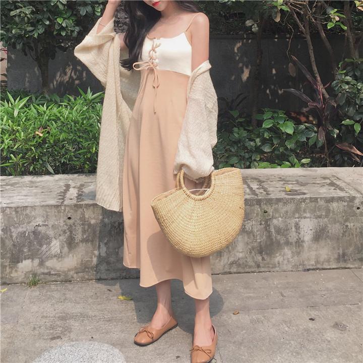 複古韓風夏季綁帶顯瘦長裙仙女氣質撞色洋裝 均碼