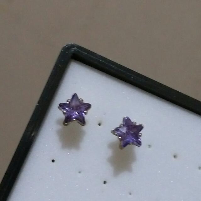 可換物 紫色星星耳環