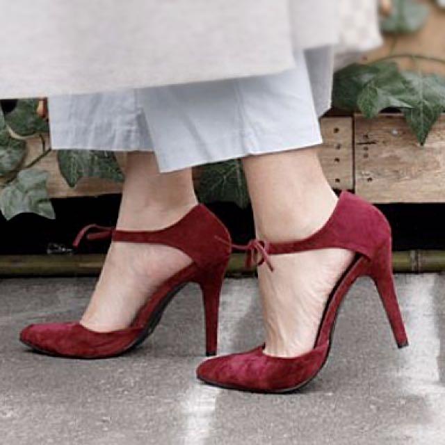 尖頭綁帶高跟鞋 麂皮 酒紅色