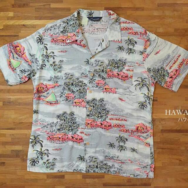 轉賣 head lover愛頭牌 淺灰色和柄夏威夷襯衫