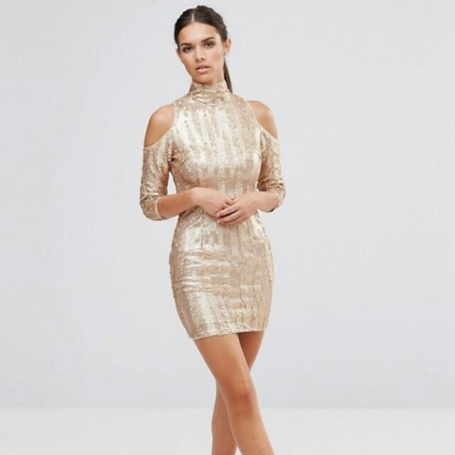 Asos Asos = TFNC High Neck Sequin Mini Dress With Cold Shoulders