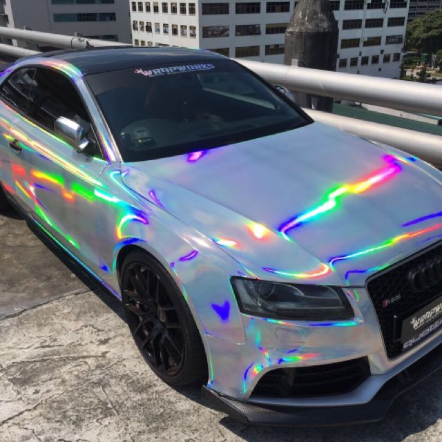 Audi Rs5 Full Wrap Holographic Chrome!, Car Accessories On