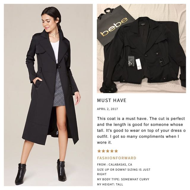 Bebe Long Trench Coat Black RRP$179US