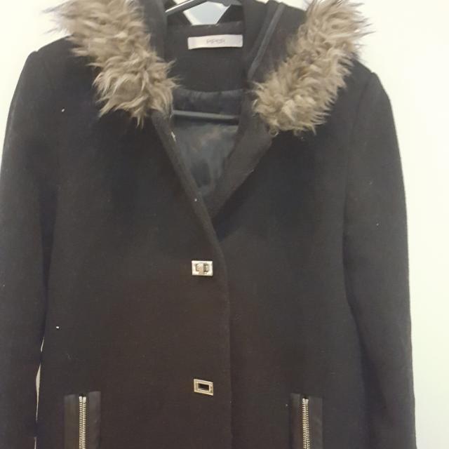 Black Coat With Faux Fur Hood