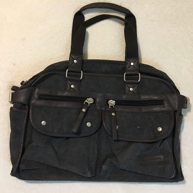 Black Denim Weekender Duffle Bag