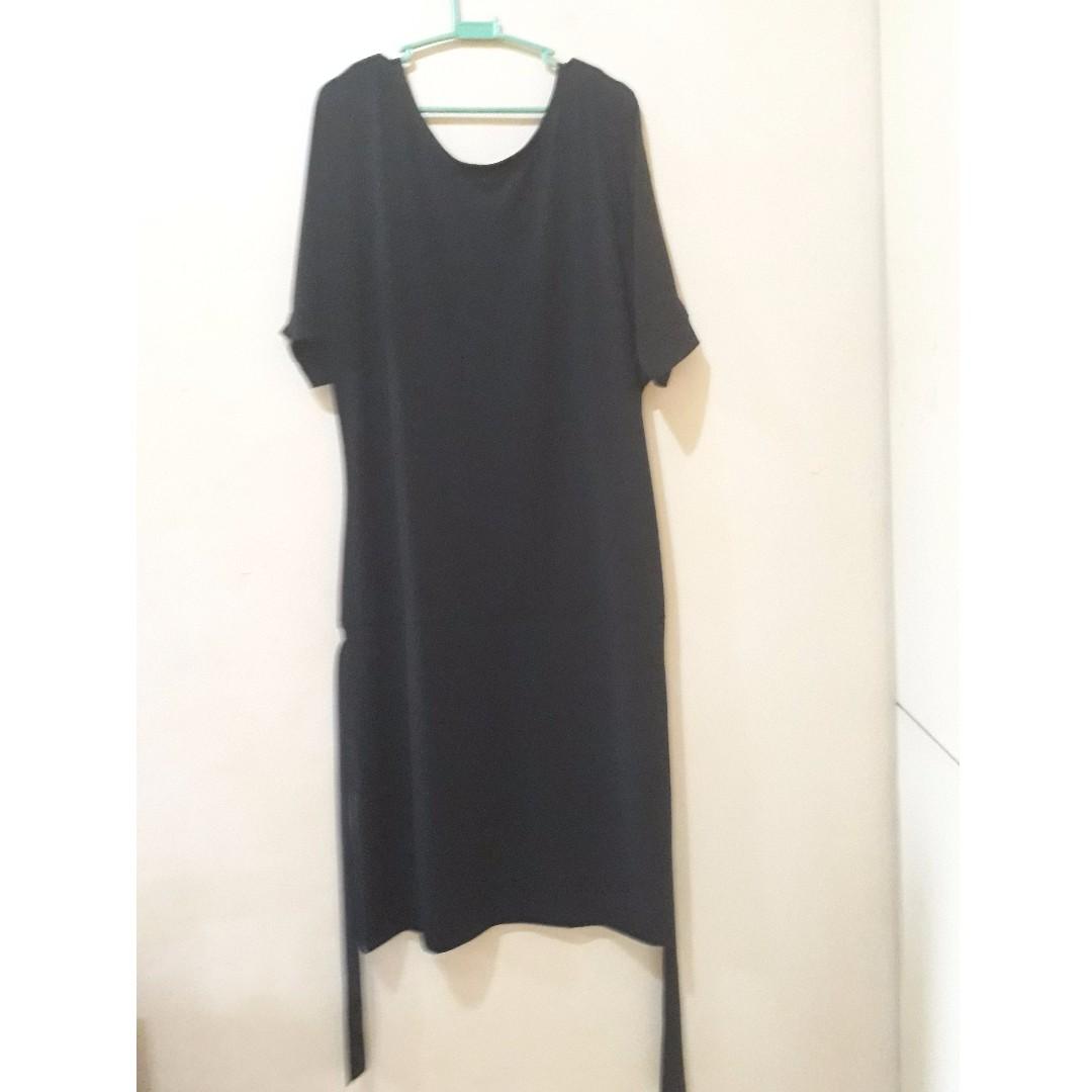 Black Flowy Dress with matching belt XL-XXL - Brand New