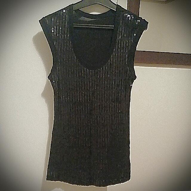 Black Sequin Dress Singlet Top