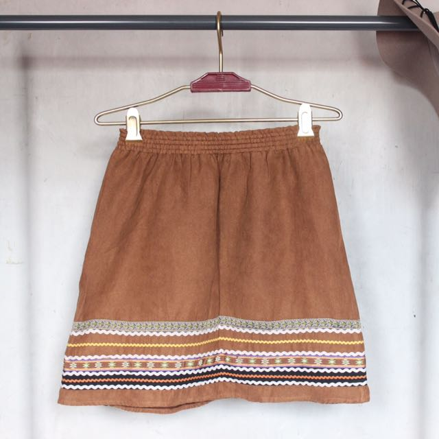 Boho Suede Skirt w/ Embroidery