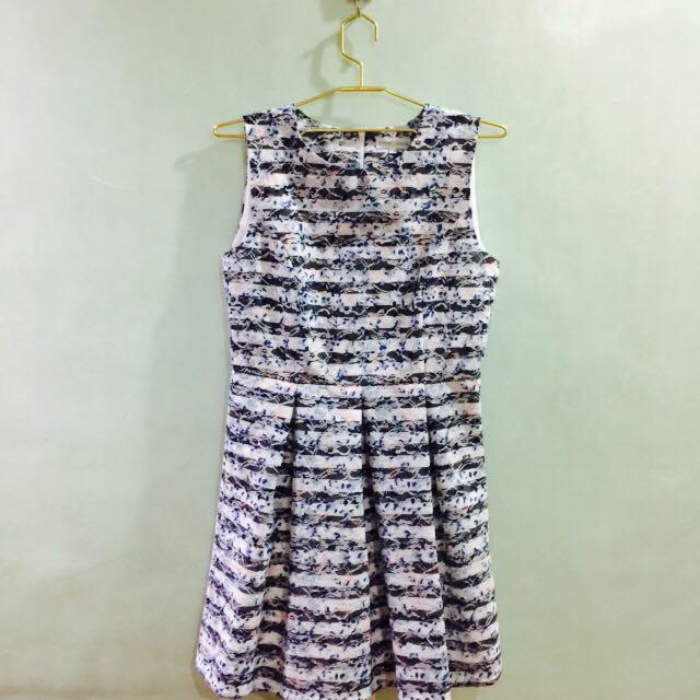 Cache Cache Blue & White Stripes Floral Lace Princess Dress