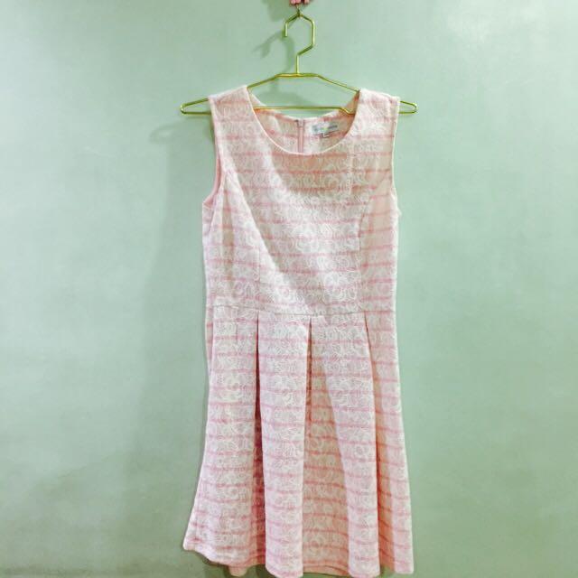 Cache Cache Pink & White Stripes Lace Princess Dress