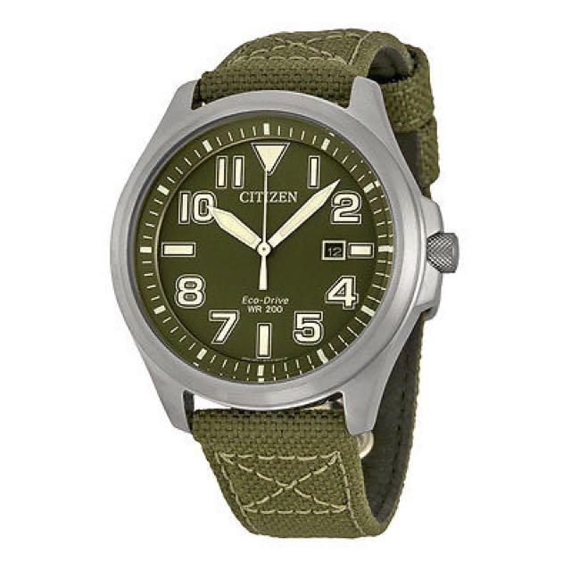 Citizen Eco-Drive Men's AW1410-16X Green Dial Nylon Strap Casual Watch - paypal, no pickup