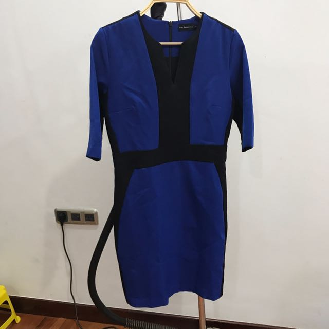 Dress V Neck Biru Hitam