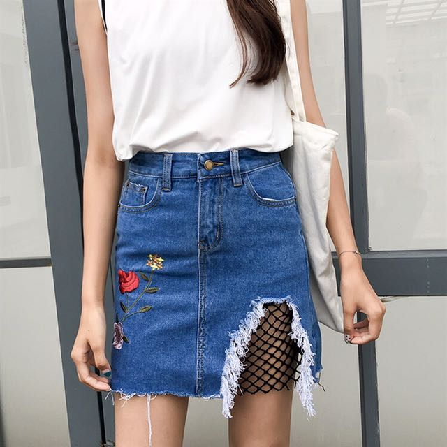 af7029df84 Embroidered Rose Ripped Net Denim Skirt, Women's Fashion, Clothes ...