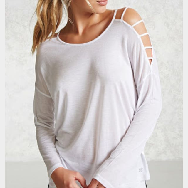 F21 Forever 21 Active Ladder Sleeve Top