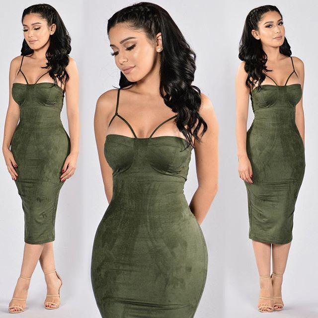 Fashion Nova Rich Like Suede Dress (Olive)
