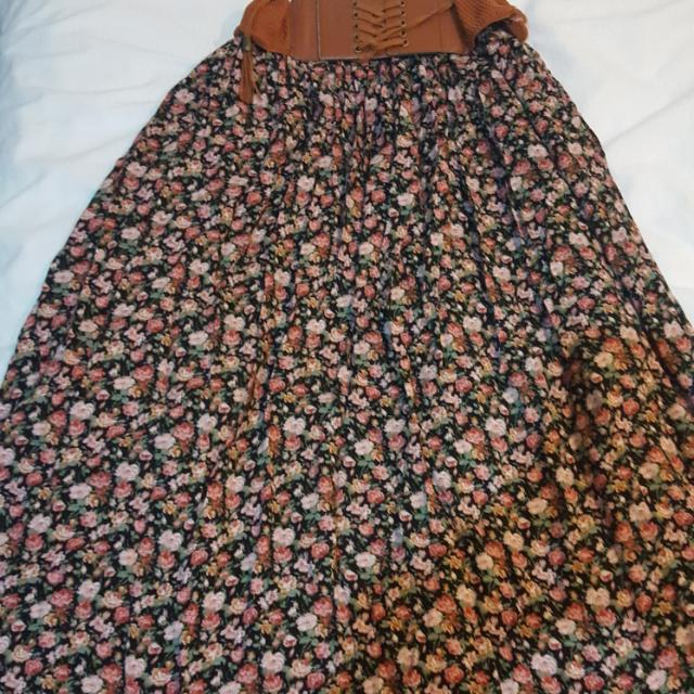 Floral Maxi Skirt With Belt