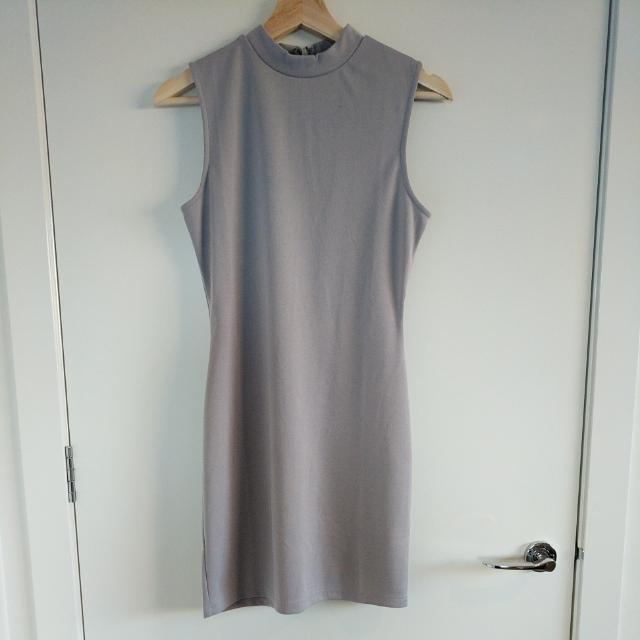 Grey Jersey Mini Shift Dress High Neck