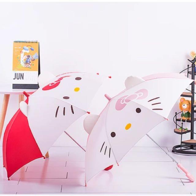 Hello kitty 兒童立體造型雨傘 直傘 洋傘 紅色 粉色【無法超取喔】