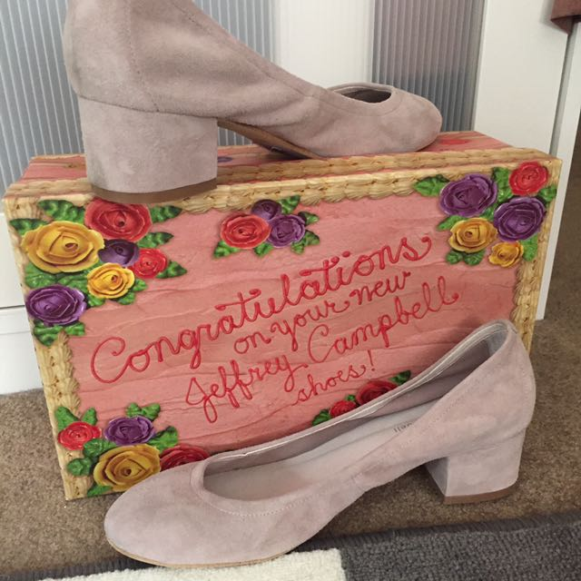 Jeffrey Campbell Shoes Heels Froarie Block Heels Taupe Suede Size 8.5