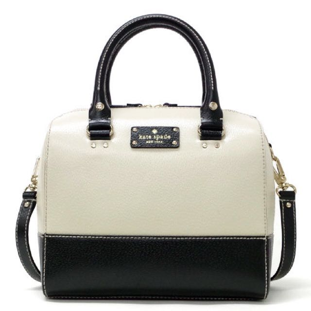KATE SPADE Berkeley Lane Alyssa Satchel in Black/ Porcelain