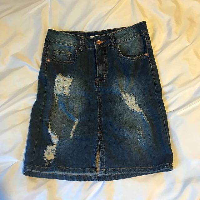 Knee Length Ripped Denim Skirt