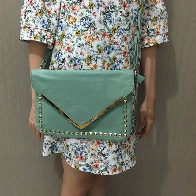 Light Green Sling Bag - With Gold Studs