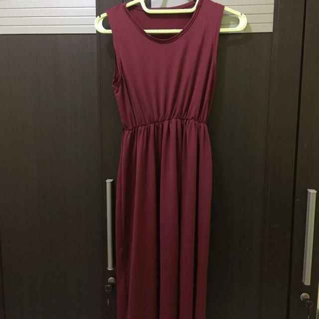 Long Dress Maroon ( free ongkir jabodetabek )