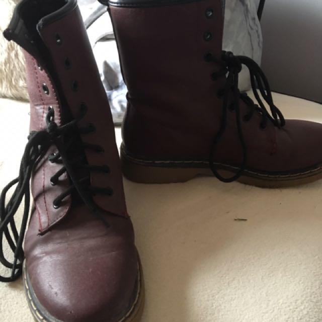 Maroon Doc Marten Style Boots