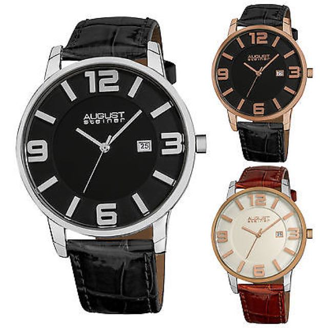 Men's August Steiner AS8055 Slim Embossed Alligator Pattern Leather Strap Watch - paypal, no pickup